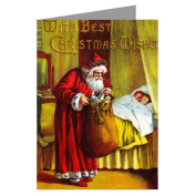 Victorian Santa Christmas Eve Present Delivery, Vintage Holiday Greeting Cards Boxed Set