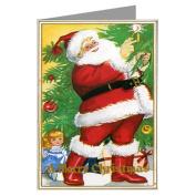 Vintage Santa Lighting a Candle on a Christmas Tree Holiday Greeting Card