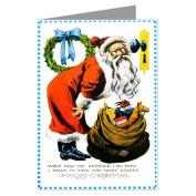 Vintage Victorian Santa looking in Keyhole Asleep Christmas Greeting Card