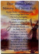 Grave Card - Dear Brother Your Memory Will Never Fade - Free Card Holder - M04X