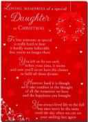 Grave Card - Loving Memories of a Special Daughter at Christmas - Free Card Holder - CMX16
