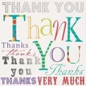 6 Thank You Cards & Envelopes 13cm x 13cm - Multicoloured Text DP207M