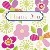 6 Thank You Cards & Envelopes 13cm x 13cm - Pink & Green Flowers DP205M