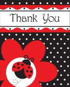 Fancy Ladybug Polka Dot Party Thank You's x 8