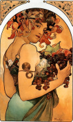 2 Handcrafted Alphonse Mucha Art Nouveau 'Fruit' Greeting Cards - Note Paper, Any Occasion 21 x 14.5 cm Cellophane Wrapped, With Envelopes