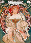 2 Alphonse Mucha Art Nouveau 'F. Champenois Imprimeur-Editeur' Greeting Cards - Note Paper, Any Occasion 21 x 14.5 cm Cellophane Wrapped, With Envelopes