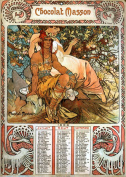 Handcrafted Alphonse Mucha Art Nouveau 'Chocolat Masson Manhood' Greeting Card - Note Paper, Any Occasion 21 x 14.5 cm Cellophane Wrapped, With Envelopes