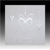 Pack of 5 Luxury White Wedding Gift Thank You Cards with Pearlised Hearts
