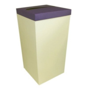 IVORY WEDDING PARTY CARD RECEIVING POST BOX - WITH PURPLE LID