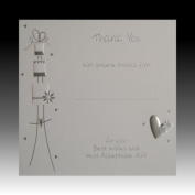 Pack of 10 Luxury Silver Foiled Wedding Gift Thank You Cards - Cake & Hearts