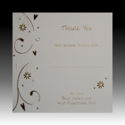 Pack of 10 Luxury Gold Foiled Wedding Gift Thank You Cards - Hearts & Flowers