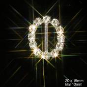 Small Oval Diamante Rhinestone Ribbon Buckle Slider (Grade A Rhinestones) x 10