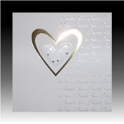 Pack of 5 Luxury White Wedding Gift Thank You Cards with Gold Heart