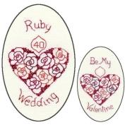 Ruby Wedding or Be My Valentine Greeting Card Kit - Cross Stitch Kit