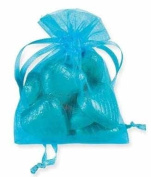 10 ORGANZA PULL STRING FAVOUR BAGS - JEWELLERY POUCHES - 10cm x 7.5cm - TURQUOISE - BLUE