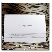 Diamante & Silver Strands DIY Wedding Invitations On Pearlised Pearlescent Card (Envelopes & Inserts to Print Inc) x 10