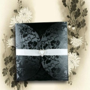 Tapestry Black Broderie Lily Pad Invitations with Envelopes & White Inserts For You to Print x 5