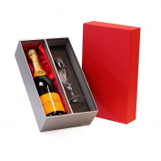 Veuve Clicquot Champagne 750ml & Sensation Flute Luxury Red & Silver Gift Box - Luxury Retirement Hampers, Thank You, Bronze Silver Gold Wedding Anniversary, Engagement, Corporate Christmas Gifts, 18th, 21st, 30th, 40th, 50th, 60th, 70th, ..
