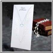 Wedding Order of Service Cards Holographic Trim & Necklace Design with Pearls on Pearlised Pearlescent Card (Inserts To Print Inc) x 10