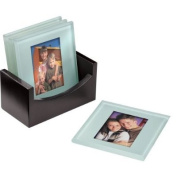 Cherished Accents Glass Photo Coasters, with Storage Rack