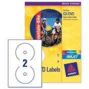 Brand New. Avery CD/DVD Labels Inkjet 2 per Sheet Dia.117mm Photo Quality Glossy Ref C9660-25 [50 Labels]