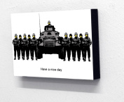 15cm x 10cm (postcard size) Block Mounted Picture, Banksy Have a Nice Day Tank