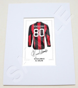 MOUNTED RONALDINHO AC MILAN SIGNED 25cm X 20cm MOUNT WITH PRINTED AUTOGRAPH PHOTO PRINT PHOTOGRAPH AUTOGRAPHED POSTER JERSEY SHIRT GIFT PRESENT XMAS CHRISTMAS BIRTHDAY