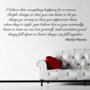 I Believe - Marilyn Monroe Quote Wall Sticker / Decal - Black - W74 x H30