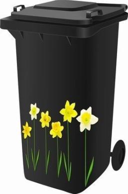 Wheelie Bin Self Adhesive Sticker Kit, Daffodil Design