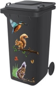 Wheelie Bin Self Adhesive Sticker Kit, Woodland Design