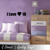 I love 1D One Direction Girls Bedroom Wall Sticker Quote Vinyl Decal Graphic Art 60x10