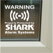 6 x Shark Property Protected Stickers-Monitored Alarm System for Windows-24hr Security Warning Signs for House,Home,Flat,Business,Unit,Property-Self Adhesive Vinyl