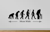 Cricket Evolution Wall Sticker Ape to Cricket Decal Art Medium 90cm Wide. Black