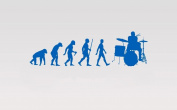 Juko Drummer Evolution Wall Sticker Decal Small 57cm Wide. Lime Green