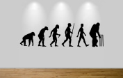 Cricket Evolution Wall Sticker Ape to Cricket Decal Art Large 192cm Wide. Black