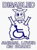 Disabled animal lover on board - Car Sticker - DCS28 - INTERNAL