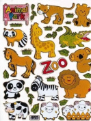 Funny Animal Zoo glittering Decal Sticker Decal Sheet 13,5 cm x 10 cm NEW SWEET E529