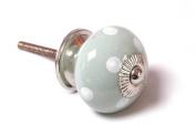 Eau de nil GREEN and white polka dot spot ceramic KNOB handle pull for furniture