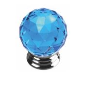 Unilocks Crystal Glass Chrome Cabinet Door Knobs Blue Diamond (Diameter:4cm H