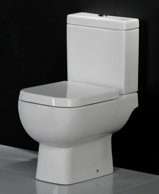 600 Compact Bathroom/Cloakroom Short Projection Close Coupled Space Saver Square Toilet Pan WC Soft Close Seat