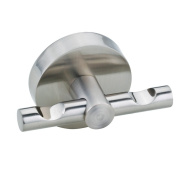Nie wieder bohren (No More Drilling) Moon MO241D Coat Hook Double 6.5 x 3.5 x 5 Chromed with Mounting Technology