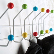 12 HOOK COLOURFUL WALL COAT HOOKS RACK colour BUD mounted hanger pegs from XTRADEFACTORY