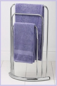 3 Tier Towel Rack Rail Stand Bow Fronted Chrome New