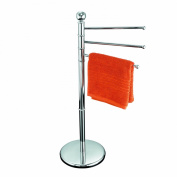Axxentia Bad 282160 Delano Chrome-Plated Towel Rail with 3 Arms and Sturdy Circular Base Height 91 cm