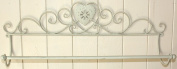 Shabby Chic Towel Rail in Distressed Cream Metal with Heart Design Bathroom or Kitchen Accessory Vintage Style
