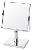 Danielle 5x Magnification 15 cm Wide Square Pedestal Mirror - Chrome