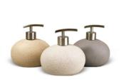 WHITE Stone Effect Round Soap Dispenser