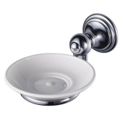 Aqualux 1126172 Chrome Allure Wall Mount Soap Holder with Porcelain