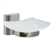 """Nie Wieder Bohren (No More Drilling) Unni DeLuxe UN123 Soap Dish Satinised Glass / Brass High-Shine Chrome-Plated - """"No More Drilling"""" mounting technology, brass, high-shine chromed. - Mounting technology"""