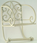 Shabby Chic Distressed Cream Metal Toilet Roll Holder & Shelf Wall Mounted